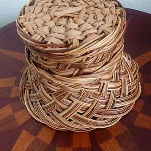 Gamjali StylHOME Accents - Boho Wicker Flower Planter Basket Pot Container